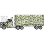Clipart Illustration of a Green Camouflage Semi Diesel Truck Pulling A Matching Cargo Trailer © Dennis Cox #17572