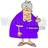 Clipart Illustration of a Mean Old Caucasian Lady With Gray Hair Flipping Off The Viewer © Dennis Cox #17574