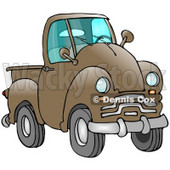 Clipart Illustration of an Old Brown Pickup Truck © Dennis Cox #17575