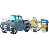 Clipart Illustration of a Frustrated Caucasian Business Man Flipping Off The Smiley Face On A Fuel Pump While Filling Up The Gasoline Tank Of His Blue Pickup Truck At A Gas Station © Dennis Cox #17576