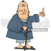 Clipart Illustration of a Grumpy Old Caucasian Man Leaning On A Cane And Flipping Someone the Bird © Dennis Cox #17577