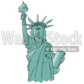 Clipart Ilustration of the Liberty Enlightening the World or Statue of Liberty Holding The Torch Above Her Head © djart #17578