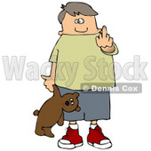 Clipart Illustration of a Bratty Young Caucasian Boy Holding A Teddy Bear And Flipping Off The Viewer © Dennis Cox #17579