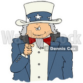 Clipart Illustration of Uncle Sam Pointing Outwards At The Viewer With A Stern Expression On His Face © Dennis Cox #17580