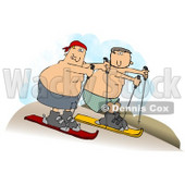 Clipart Illustration of Two Shirtless Caucasian Men In Shorts, Sand Surfing Downhill In A Desert © Dennis Cox #17581