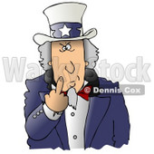 Angry Uncle Sam Flipping Off the Viewer Clipart Illustration © Dennis Cox #17609