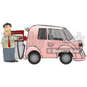 An Anxious Man Filling Up His Gas Hog Of A Vehicle, Possibly A Mini Van, That Is Pink, Has A Curly Tail And Snout And Resembles A Pig Clipart Illustration © Dennis Cox #17610