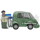 A Hispanic Or Black Businessman Standing At A Gas Pump While Anxiously Fueling His Tank And Spending Money He Doesn't Want To To Fill Up His Green Car Which Resembles A Minivan Clipart Illustration © djart #17611