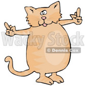 Spoiled Fat Ginger Cat Using Both Front Paws To Flip People Off After Not Getting What He Wants Clipart Illustration © Dennis Cox #17612