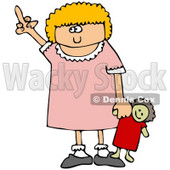 Angry Little Blond Girl Holding Her Doll and Flipping Someone Off After Not Getting Her Way Clipart Illustration © djart #17615