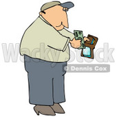 Middle Aged Caucasian Man Holding His Wallet Open To Pull Out Cash To Make A Payment Clipart Illustration © djart #17617