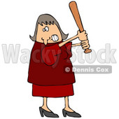 Angry Caucasian Woman In A Red Dress And Heels, Swinging A Wooden Baseball Bat After Someone Really Ticked Her Off Clipart Illustration © djart #17618