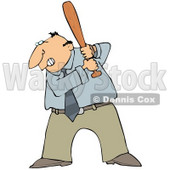 Angry Middle Aged Caucasian Businessman Preparing To Swing A Bat After Someone Pissed Him Off Clipart Illustration © Dennis Cox #17621