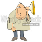 Middle Aged Caucasian Man Holding An Ear Horn Or Ear Trumpet To His Ear To Amplify His Hearing Clipart Illustration © Dennis Cox #17624
