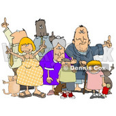 Group Of Angry People Of All Ages And Mixed Ethnicities, Standing With A Dog And A Cat And Flipping People Off Clipart Illustration © Dennis Cox #17625