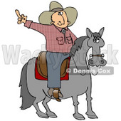 Pissed Off Cowboy Sitting On A Saddle On A Horse, Flipping Off Someone Behind Him Clipart Illustration © djart #17627