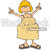 An Angry Blond Caucasian Pregnant Woman In A Yellow Dress And Sandals, Using Both Hands To Flip People Off While Her Hormones Flare Clipart Illustration © Dennis Cox #17628