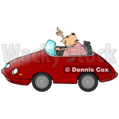 Angry Middle Aged Caucasian Man With Road Rage, Driving A Red Convertible Car And Flipping Someone Off Clipart Illustration © djart #17631