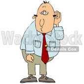 Middle Aged Caucasian Businessman Who Is Hard At Hearing, Cupping His Ear To Listen Clipart Illustration © djart #17632