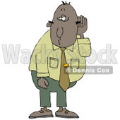 Middle Aged Black Businessman Who Is Hard At Hearing, Cupping His Ear To Listen Clipart Illustration © djart #17636