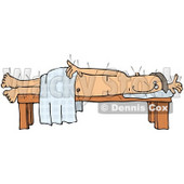 Male Caucasian Patient Poked All Over With Acupuncture Needles, Lying On His Side On A Table While Draped In A Sheet Clipart Illustration © Dennis Cox #17638