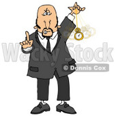 Clipart Illustration of a Bald Middle Aged Caucasian Man In A Suit, Holding One Finger Up And Swinging A Pocket Watch While Hypnotizing And Putting The Viewer Into A Trance © Dennis Cox #17639