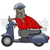 Rude Black Man Wearing A Blue Helmet, Red Shirt And Brown Pants, Riding Past On A Blue Scooter And Flipping The Viewer Off Clipart Illustration © Dennis Cox #17641