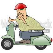 Rude Caucasian Man Wearing A Red Helmet, Green Shirt And Blue Pants, Riding Past On A Green Scooter And Flipping The Viewer Off Clipart Illustration © Dennis Cox #17644