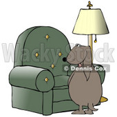 Clipart Illustration of a Bad Dog Looking Back Over His Shoulder While Peeing On A Chair In A Living Room © Dennis Cox #17646