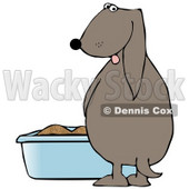 Clipart Illustration of a Silly Dog Pissing in a Litter Box © Dennis Cox #17648