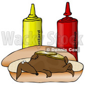 Clipart Illustration of a Funny Wiener Dog Topped With Pickle Slices, Lying On His Back On A Hot Dog Bun Beside Ketchup And Mustard Bottles © Dennis Cox #17649