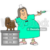 Clipart Illustration of a Vet Tech Preparing a Syringe to be Given to a Dachshund © Dennis Cox #17651