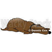 Clipart Illustration of a Lazy Old Brown Hound Dog Lying on His Belly and Keeping One Eye Open © Dennis Cox #17656