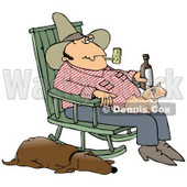 Clipart Illustration of a Man Smoking a Pipe and Drinking a Beer While Sitting in a Rocking Chair With a Cat in His Lap and His Hound Dog at His Side © Dennis Cox #17657