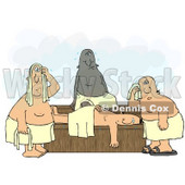 Clipart Illustration of a Group of Hot Men Wrapped in Towels, Sweating in a Sauna © Dennis Cox #17658