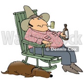 Clipart Illustration of a Hillbilly Smoking A Tobacco Pipe, Drinking Beer And Sitting In A Rocking Chair With His Loyal Old Hound Dog At His Side © Dennis Cox #17659