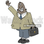 Clipart Illustration of an African American Businessman With Braces, Smiling, Waving and Carrying a Briefcase © Dennis Cox #17665
