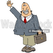 Clipart Illustration of a White Businessman With Braces, Smiling, Waving And Carrying A Briefcase © Dennis Cox #17666