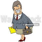 Clipart Illustration of a White Businesswoman With Braces, Smiling And Carrying A Letter And Briefcase © Dennis Cox #17667
