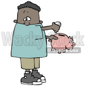 Clipart Illustration of an African American Boy Inserting Change Into A Pink Piggy Bank To Save For Something © Dennis Cox #17669