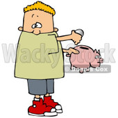 Clipart Illustration of a White Boy Inserting Change Into A Pink Piggy Bank To Save For Something © djart #17670