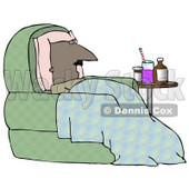 Clipart Illustration of an Ill Bald Middle Aged African American Man Resting His Head Against A Pillow And Lying Under A Blanket In A Green Chair With Medicine On A Table Beside Him © Dennis Cox #17672