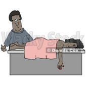 Clipart Illustration of a Female African American Masseuse About To Wake Up A Relaxed Customer That Fell Asleep During A Massage © djart #17688