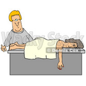Clipart Illustration of a Female Caucasian Masseuse About To Wake Up A Relaxed Customer That Fell Asleep During A Massage © djart #17689