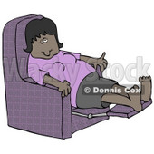 Clipart Illustration of a Tired African American Woman In A Purple Shirt Resting With Her Feet Up In A Purple Lazy Chair © djart #17693