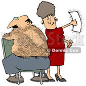 Clipart Illustration of a Caucasian Woman Getting A Thrill Out Of Ripping A Wax Strip Off Of Her Husband's Hairy Back © Dennis Cox #17697