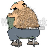 Clipart Illustration of a Bald, Middle Aged Caucasian Man With A Hairy Back Sitting Backwards In A Chair © djart #17698