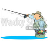 Middle Aged Cuacasian Man Wearing A Hat And Vest, Wading In Water, Holding A Fish And Fishing Clipart Illustration © Dennis Cox #17742