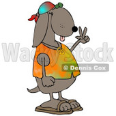 Cool Brown Hippie Dog In A Tye Die Shirt And Sandals And Flashing The Peace Sign Gesture Clipart Illustration © Dennis Cox #17743