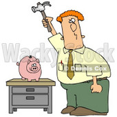 Red Haired Caucasian Businessman Holding A Hammer High Above A Piggy Bank On A Table, Prepared To Break The Bank And Take The Money Out Of Savings Clipart Illustration © djart #17744